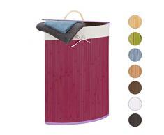 Relaxdays, violett Eckwäschekorb, Faltbare Wäschebox 60 l, platzsparend, Wäschesack Baumwolle, 65 x 49,5 x 37 cm