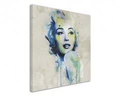 Paul Sinus Art Marilyn_Monroe_Aqua_60x60cm Wandbild Leinwand, 90 x 50 x 3 cm, mehrfarbig