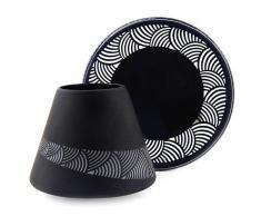 Yankee Candle 1521339 Sandblast Kerzenschirm mit Teller, Glas, schwarz, 12,3 x 12,3 x 10 cm
