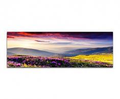 Panoramabild auf Leinwand und Keilrahmen 150x50cm Ukraine Blumenwiese Berge Abendsonne