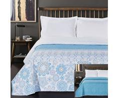 DecoKing Tagesdecke 220 x 240 cm türkis weiß grau Bettüberwurf mit abstraktem Muster zweiseitig pflegeleicht Alhambra hellblau himmelblau White Turquise Light Blue Grey