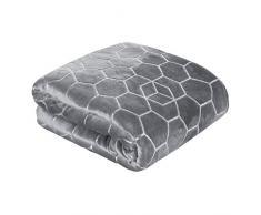 Eurofirany Tagesdecke Vanesa Wohndecke mit silbernem Honigwabe-Muster Kissenbezüge Kuscheldecke Sofadecke, Polyester, Stahl, 170x200 cm