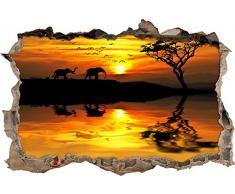 Pixxprint 3D_WD_S2296_62x42 prächtige Elefanten beim Sonnenuntergang Wanddurchbruch 3D Wandtattoo, Vinyl, bunt, 62 x 42 x 0,02 cm