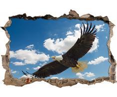 Pixxprint 3D_WD_2105_62x42 Adler hoch in den Wolken Wanddurchbruch 3D Wandtattoo, Vinyl, bunt, 62 x 42 x 0,02 cm