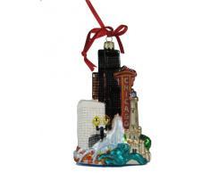 Kurt Adler Stadtansicht von Chicago aus Glas, Christbaumschmuck