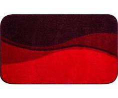 Linea Due Badteppich 100% Polyacryl, ultra soft, rutschfest, ÖKO-TEX-zertifiziert, 5 Jahre Garantie, FLASH, Badematte 80x140 cm, rubin