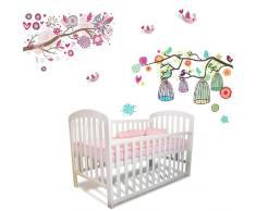 Walplus Wandtattoo für das Kinderzimmer Blumen/Baum/Vogelkäfige