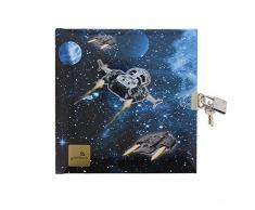 Goldbuch Tagebuch, Raumschiff, 96 weiße Seiten, 16,5 x 16,5 cm, Schloss mit 2 Schlüsseln, Laminierter Kunstdruck, Schwarz/Dunkelblau, 44570