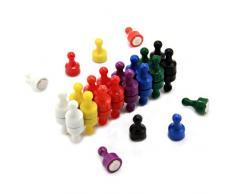 First4magnets F4MRS-32 Regenbogen Skittle Magnet Büro und Kühlschrank, 8 Farben, Packung mit 32, Metall, silber, 12 mm Durchmesser x 21 mm hoch