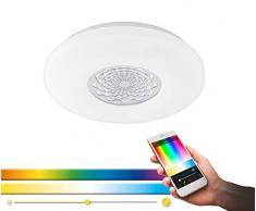 EGLO connect LED Deckenleuchte Capasso-C, Smart Home Deckenlampe, Wandlampe mit Muster, Material: Stahl, Kunststoff, Farbe: weiß, chrom Ø: 34 cm, dimmbar, weißtöne und Farben einstellbar, Wandleuchte