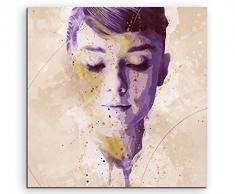 Paul Sinus Art Audrey_Hepburn_Splash_60x60cm Wandbild Leinwand, 90 x 50 x 3 cm, mehrfarbig