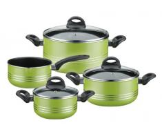 GSW 800396 Milano Topf-Set 4-teilig grün, Aluminium, 24 cm, 7-Einheiten