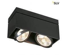 SLV LED Deckenlampe KARDAMOD für eine effektvolle Innenbeleuchtung | Dreh- und schwenkbare LED Deckenleuchte, Decken-Strahler, Spot Innenleuchte | Zweiflammig, Eckig, Schwarz, GU10, max. 75W, E -A++