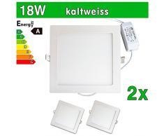 LEDVero 2x Ultraslim LED Panel SMD 2835, 18 W, eckig Deckenleuchte Lampe Einbau Leuchte Licht Strahler, kaltweiß SP216