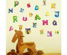 Alphabet Walplus Wandsticker-Dekoration, Motiv ABC für Kinderzimmer, 45 x 60 cm, Pink