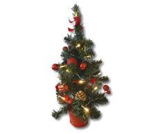 Künstlicher Tannenbaum Weihnachtsbaum 45cm mit LED Lichterkette Beleuchtung und Baumschmuck Weihnachtskugeln 20 Lichter Baum geschmückt mit Zapfen Kugeln Schleifen (Baumschmuck rot)