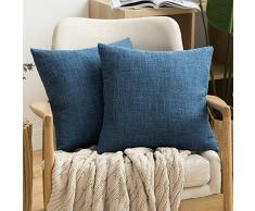 MIULEE Dekorative Kissenbezüge Leinen Jute, quadratisch, massives Bauernhaus Modern, prägnanter Überwurf Kissenbezug für Sofa Auto 16x16 Marineblau