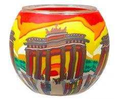 Himmlische Düfte Geschenkartikel CC244 Tischdekoration, Berlin Windlicht Glas 11 x 11 x 9 cm, bunt