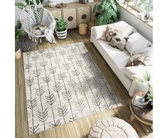 Tapiso Ethno Teppich Kurzflor Modern Pfeile Streifen Design Creme Grau Meliert Wohnzimmer Schlafzimmer ÖKOTEX 80 x 150 cm