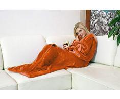 Walser Kuscheldecke Snuggle mit Ärmeln Beige, Weihnachten, flauschig weich, ideal für die kalte Jahreszeit (Orange, 170 x 200 cm)
