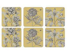 Pimpernel Etchings & Roses Yellow Untersetzer 6 Stück (m)
