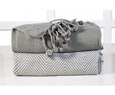 EHC Tagesdecke Luxus Chevron Baumwolle Single Sofa Überwurf Decke, 125x 150cm, grau, 2Stück