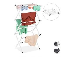 Relaxdays Wäscheständer, klappbar, ausziehbar, 11 Stangen, 6 Ebenen, platzsparender Turmwäscheständer, Metall, weiß