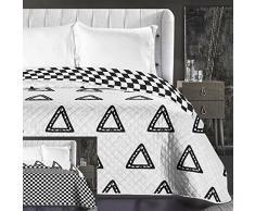 DecoKing 86186 Tagesdecke 220 x 240 cm schwarz weiß Bettüberwurf zweiseitig pflegeleicht geometrisches Muster Black White Hypnosis Collection Triumph
