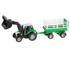 Idena 40291 - Traktor mit abnehmbarem Anhänger, Rückziehmotor und Frontlader mit Anhängerkupplung, Maßstab 1:43, ca. 28 cm