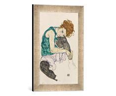 Gerahmtes Bild von Egon Schiele Sitzende Frau, 1917, Kunstdruck im hochwertigen handgefertigten Bilder-Rahmen, 30x40 cm, Silber Raya