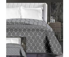 DecoKing 86759 Tagesdecke 220 x 240 cm Graphit grau Stahl anthrazit Bettüberwurf zweiseitig pflegeleicht geometrisches Muster Grey dimgray Steel Hypnosis Collection Rhombuses