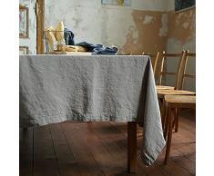 Linenme Küchentuch, 170 x 170 cm, 10-Teilig, Stone Washed Tischdecke, Aloe - 6,35, Leinen, Taupe, 170 x 250 cm