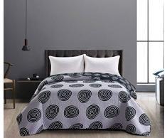 DecoKing Tagesdecke 240 x 260 cm schwarz weiß Graphit grau Stahl anthrazit Bettüberwurf zweiseitig pflegeleicht geometrisches Muster