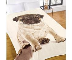 Dreamscene Warm Soft Mink Kunstfell Mops Hund Sofa Bett Überwurf, Decke, Natur, 150 x 200 cm