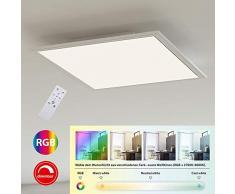 Briloner Leuchten Deckenlampe, LED Panel, Deckenleuchte quadratisch (45 x 45cm), Weiß, Farbtemperatursteuerung (3.000-6.500 Kelvin) + RGB, Dimmbar, 2.400 Lumen, Kunststoff