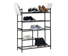 Relaxdays Schuhregal SANDRA mit 5 Ebenen, Schuhablage aus Metall, mit Stiefelfach, für 16 Paar Schuhe, HBT: ca. 101 x 85 x 26 cm, mit Griffen, schwarz