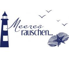 GRAZDesign 650166_40_049 Wandtattoo maritim Meeres-Rauschen/Leuchtturm | Badezimmer-Wände mit Aufkleber gestalten | WC/Toilette (74x40cm // 049 königsblau)