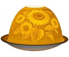Himmlische Düfte Geschenkartikel DL0007 Sonnenblume Windlicht Porzellan 12 x 12 x 8 cm, weiß
