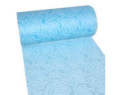 Dekoflor Tischband Tischläufer Tischdeko einzigartiges Rosen Design (Wasserfest, Lotuseffekt, samtige Oberfläche, 25 m Rolle, 30 cm Breite, 100% Nylon), Hellblau