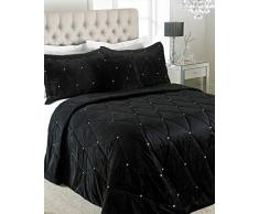 Riva Paoletti New Tagesdecke Set mit Kristall Sequins-Quilted Geometric Design-2Â X kissenrollen included-100% (221Â x 238,8Â cm Zoll), Polyester, 220Â x 240Â cm, schwarz