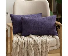 MIULEE Dekorative Kissenbezüge Leinen Jute, quadratisch, massives Bauernhaus Modern, prägnanter Überwurf Kissenbezug für Sofa Auto 12x20 violett