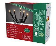 Konstsmide 6352-820 Micro LED Lichterkette / für Innen (IP20) / VDE geprüft / 24V Innentrafo / 35 bernsteinfarbene Dioden / schwarzes Kabel