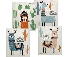 SWEDEdishcloths Gemischte Llama Geschirrtücher, 4 Stück, Schweden, umweltfreundlich, Schwammtuch, Ersatz für Papierhandtücher