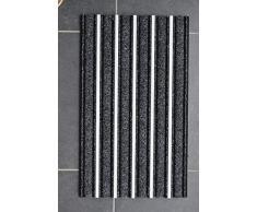 HANSE Home 45x75 cm Alu Fussmatte Schmutzfangmatte mit Aluminium Profil, Polypropylen, Schwarz, 47.5 x 75 x 1.3 cm