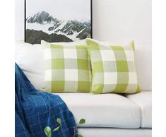 HOME BRILLIANT 2 Stück Modern Checker Plaids Überwurf Kissenbezug 18x18 Checker/Plaid Set-Grass Green