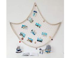 SUNREEK Dekoratives Fischernetz, Dekoration, mediterraner Ozean, Pirat, Strand, Party-Dekoration 1m x 2m beige