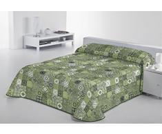 SABANALIA Rustik Tagesdecke fein Dekorativ Bett, Grün, 90 – 180 x 280 cm