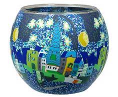 Himmlische Düfte Geschenkartikel CC236 Tischdekoration, Paris Windlicht Glas 11 x 11 x 9 cm, bunt