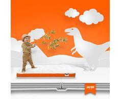 JAY-BE Kleinkinder Schaumstoff gratis Federkernmatratze, Stahl Frühling mit Hypoallergen Airflow Faser, weiß/orange, Single