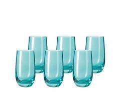 Leonardo 014906 Set 6 Becher Wassergläser groß Sora, spülmaschinenfest, laguna türkis / blau